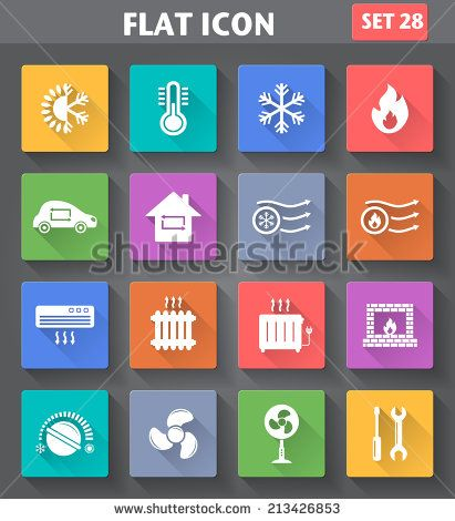 Vector application Heating and Cooling Icons set in flat style with long shadows. - stock vector