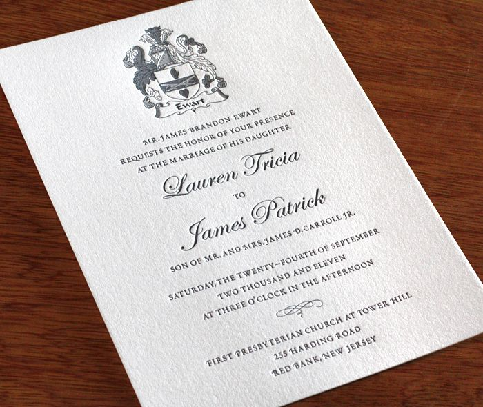 90 best invitation syle classic images on pinterest invitation familycrest letterpress wedding invitation traditional invitation solutioingenieria Choice Image