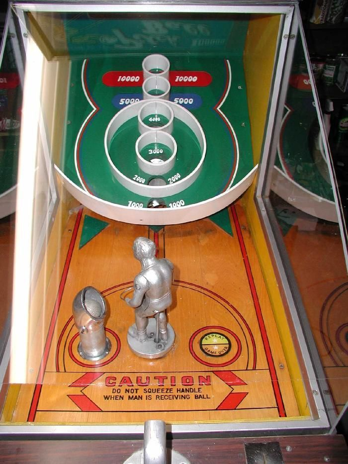 vintage penny arcade games | Vintage Pitch Ball arcade game detail