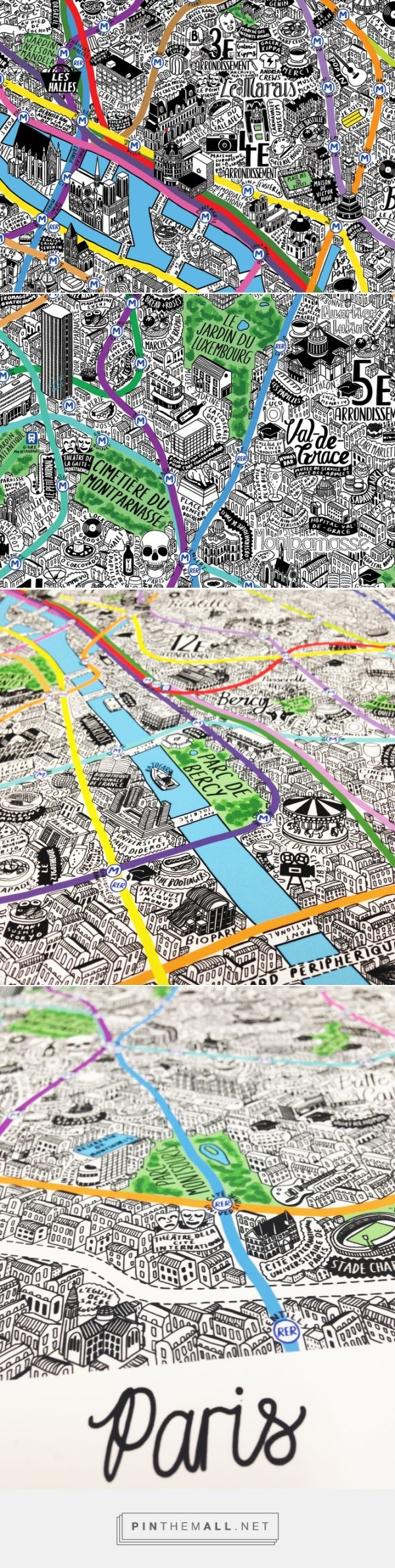 Hand Drawn Map of Paris - Jenni Sparks - created via http://pinthemall.net