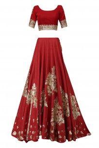 Red and Gold Badla Work Lehenga Set #manishmalhotra #elegant #newcollection #shopnow #perniaspopupshop #happyshopping