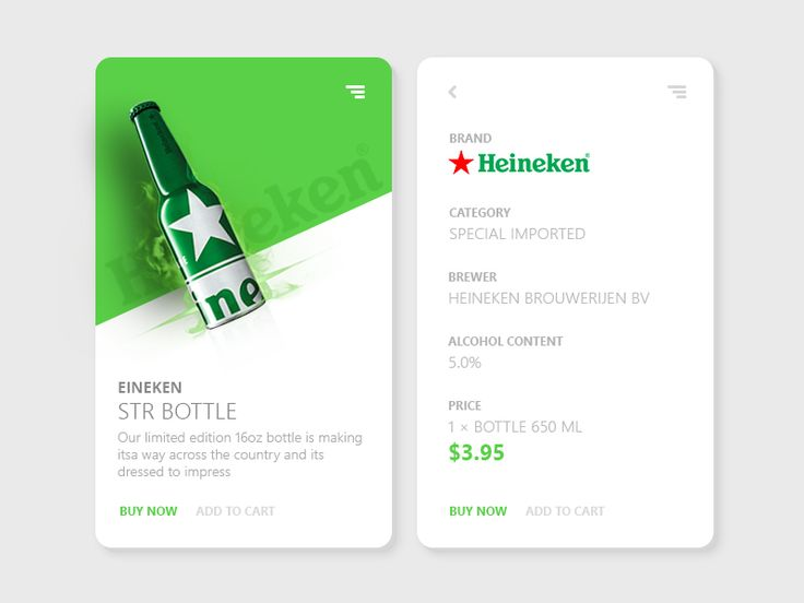 Beer, card, green, bottle, ui