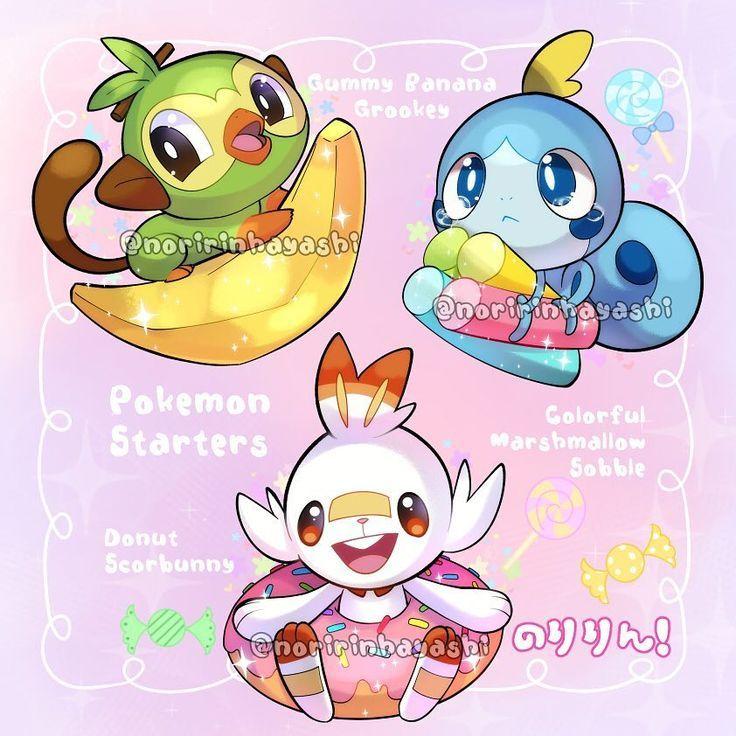 Aww Adorable Pokemon Sword And Shield Starter Pokemon Doodle Pokemon Cute Pokemon Cute Pikachu