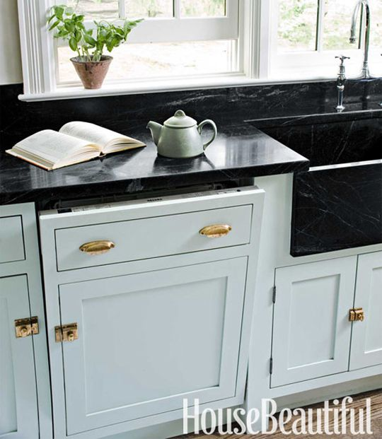 Love That Gold Hardware With The Blue Cabinets And Black
