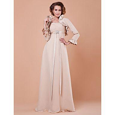 Lanting+Bride®+Футляр+Большие+размеры+/+Миниатюрный+Платье+для+матери+невесты+-+Накидка+в+комплекте+В+пол+Рукав+3/4+Шифон+/+Сатин+-++–+RUB+p.+7+907,18
