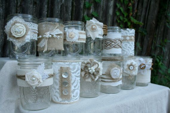 Imagine these lovely jars glimmering with the flicker of candlelight at your outdoor wedding....or filled with sunflowers at your rustic Thanksgiving dinner.....or glowing in your cabin on Christmas Eve.....or at your best friends baby shower..... the possibilities are endless!    This listing is for the EXACT 12 jars pictured. Each is different and unique - which makes them so charming :)    They are wide-mouth, tapered pint jars, 16 oz. approx. 3.5 in W x 5 in tall.    These are packed up…