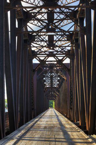 crosses the South Saskatchewan River.  Location:St Louis, Saskatchewan,