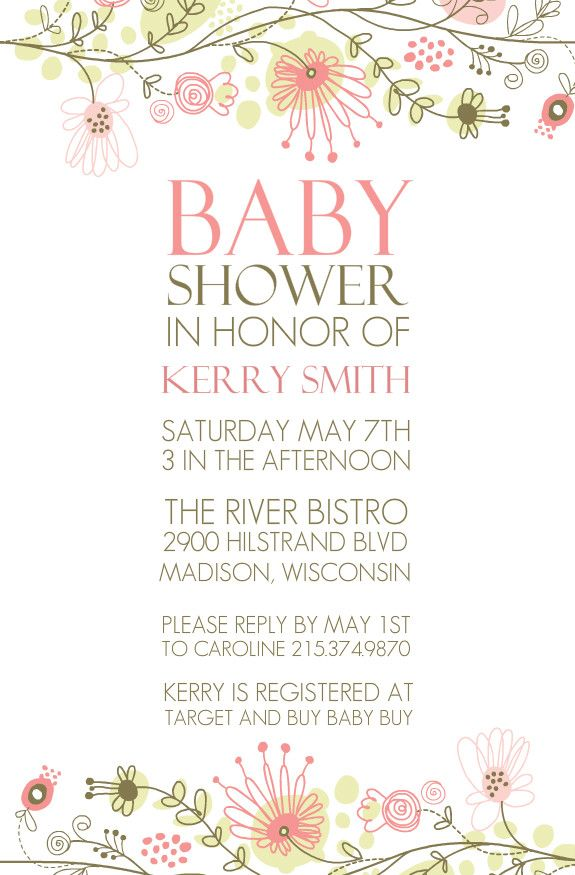 Spring Floral Border Baby Shower Invitation by PurpleTrail