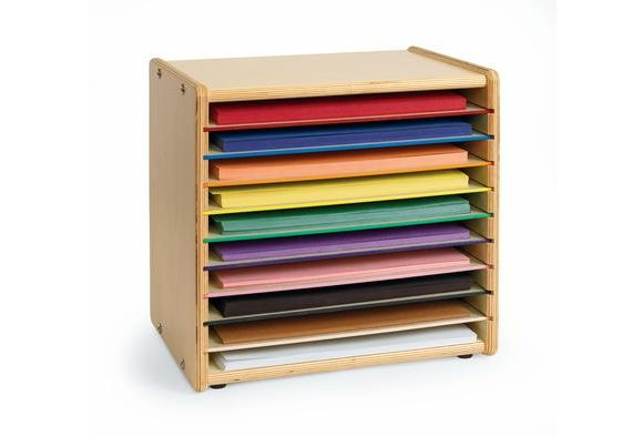 construction paper organizer Construction paper storage unit with 15 shelves stores 9 x 12 sheets of construction paper neatly in your classroom each shelf measures 12-1/2 wide x 9 -1/2 deep x 8-1/2 high.