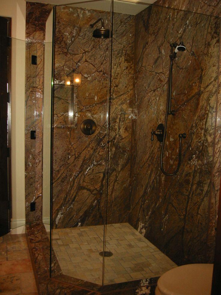 Rain Forest Brown Marble Shower