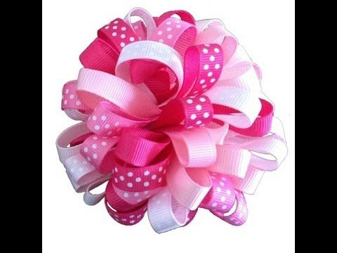▶ How To Make A Loopy Puff Ribbon Hair Bow - YouTube.  Uses 1 yard of 6 different colors.  Cut each yard into 4-inch pieces, for a total of 54 pieces.  No need to heat seal.  Just fold these in half and sew them together.  Glue on felt circle, then also attach to alligator clip using felt circle.  Good use of 3/8 inch ribbon.