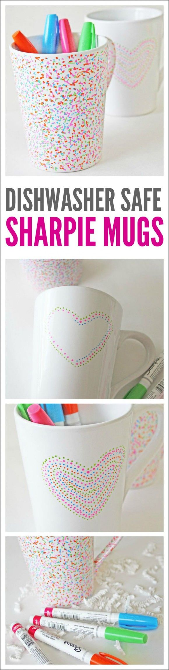 Dishwasher Safe Sharpie Mug DIY. These make great holiday gifts, birthday gifts, teacher gifts, or party favors! After you bake them in the oven, they are perfectly safe to use with food and won't wash off in the dishwasher. See more crafts, party ideas, and DIYs at CatchMyParty.com.