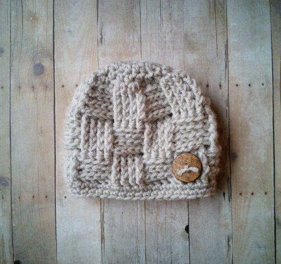 Crochet Baby Boy Girl Basket Weave Texture Hat by HookMeUpPropShop, $15.00