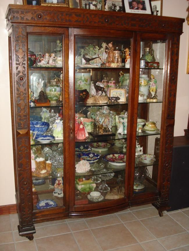 Antique Oak China Cabinet Curio China Buffet Very Nice