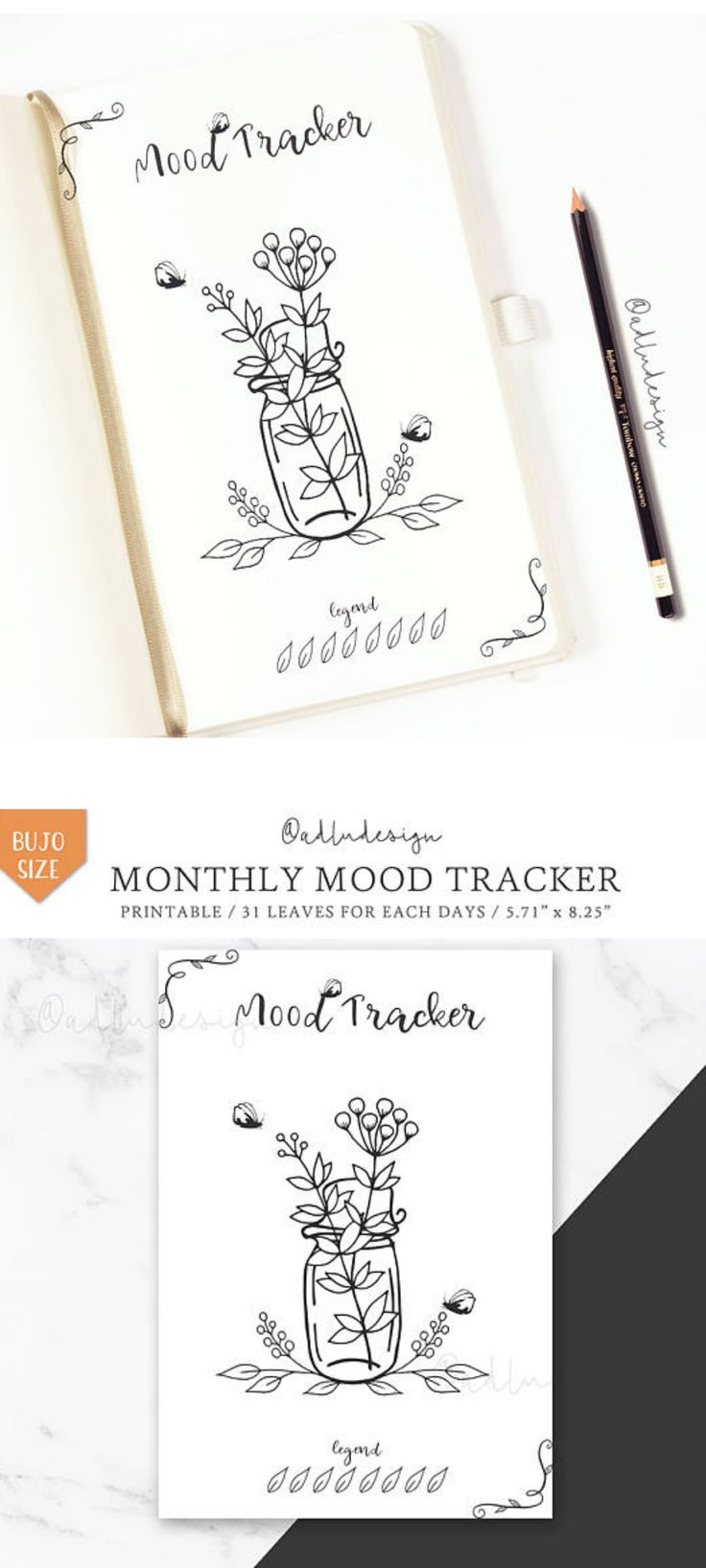 Track your mood with this monthly mood tracker printable. Color as you want the leaves and flowers. 31 leaves for each days of the month.Monthly Mood Tracker PRINTABLE / Bullet Journal Insert / Leaves and Flowers Tracker / 31 days #bulletjournals #moodtracker #ad #printable #layouts #templates #etsy