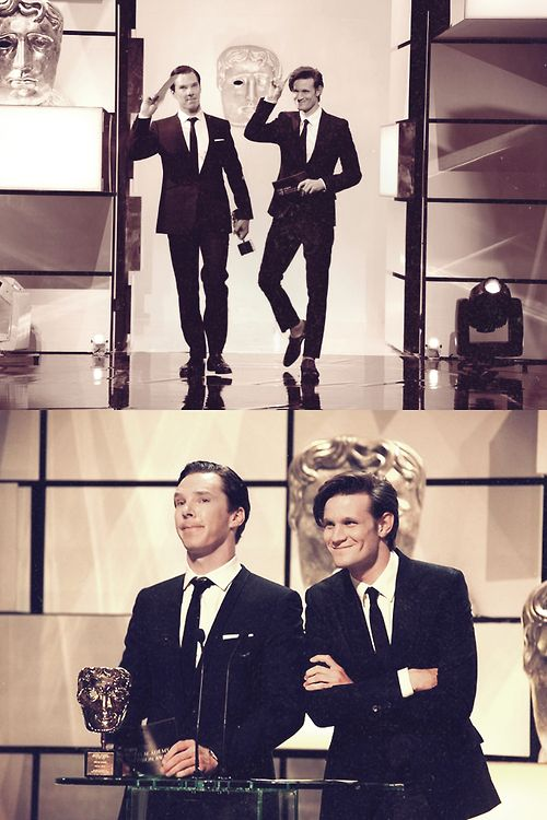 Benedict Cumberbatch and Matt Smith giving Steven Moffat the award he deserves, even though we are sorely  cross with him sometimes. <3