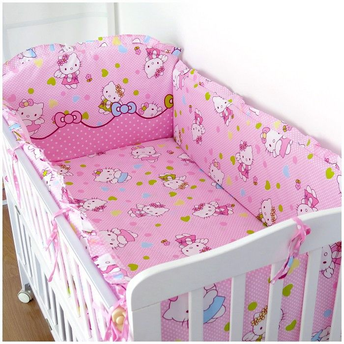 Promotion! 6PCS Hello Kitty baby bedding bumper set newborn bedding cot nursery cot bedding kit bed (bumper+sheet+pillow cover)