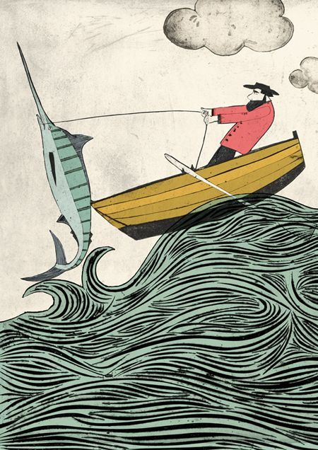 """The Old man And The Sea, Illustration by Rose Forshall--""""such birds that fly..."""""""