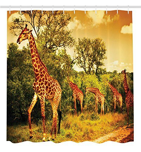 Giraffe Shower Curtain Wildlife African Safari Decor by Ambesonne Giraffe and Animals Art for Bathroom Decorations Kids Teens Wild Jungle Desert Themed Shower Curtain Orange Brown Beige Green -- Click image to review more details. Note:It is Affiliate Link to Amazon.