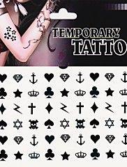 1pc hjärta spade klubb diamant kors tatuering klistermärken tillfälliga tatueringar