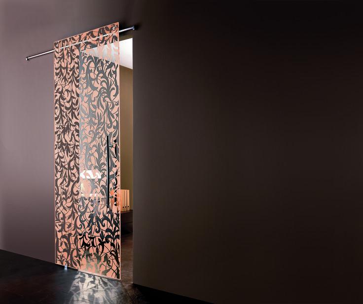soluzioni in cristallo casali, porta scorrevole SoftZero * mod.Florita * Light & Color * Sabbia