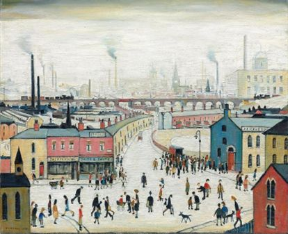 """Lowry was the first artist that I think I learnt about and could recognize.  This is one of his pieces of art that feature my home town """"Stockport"""""""