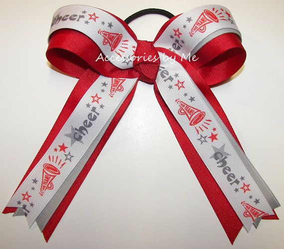 Cheerleader Ponytail Holder Red Gray Bow Ribbon by accessoriesbyme