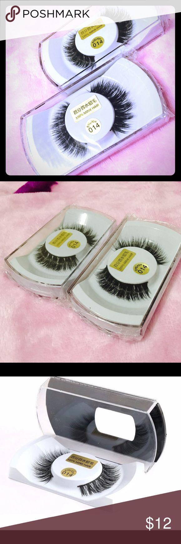 🌸🌺2pairs 100% real natural Mink hair 100% real mink natural black tick eyelash Makeup False Eyelashes