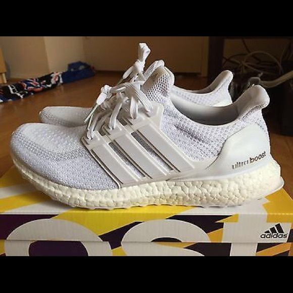 Adidas ultra boost triple white Adidas ultraboost triple white!! Sold out everywhere. New with box with receipt from adidas official website. Women size 8.5 (I am a size 9, 9.5 depend on the shoes and these fit me a little by tight but ok)   NO TRADE Adidas Shoes Sneakers