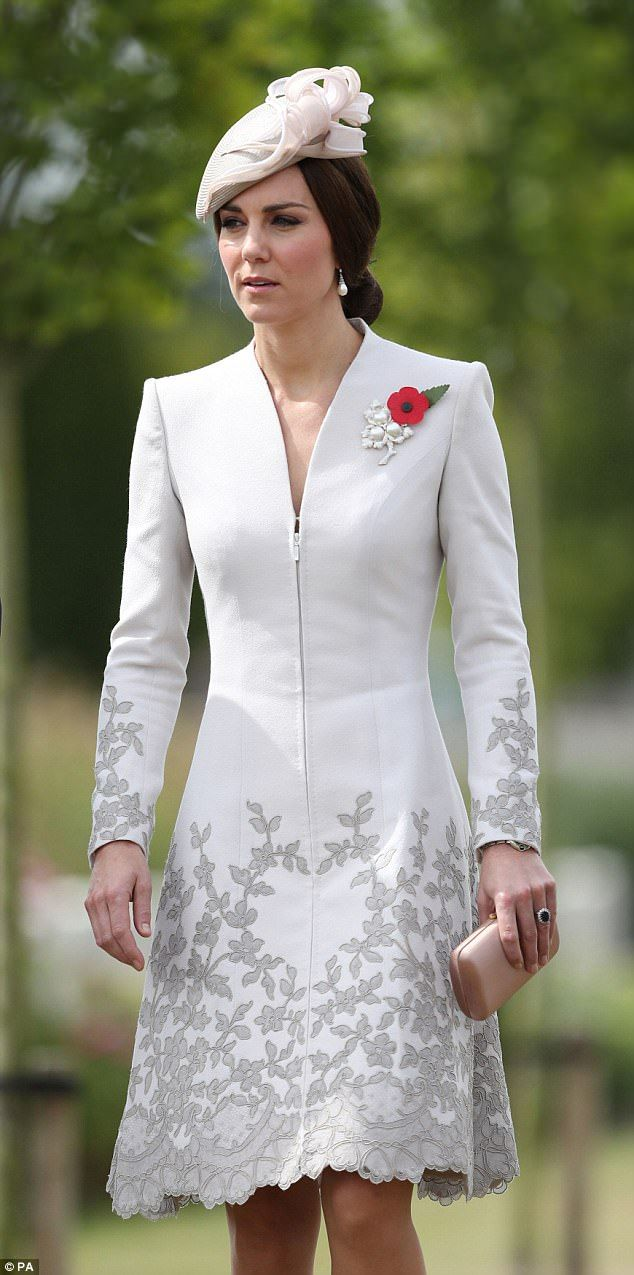 The lace embellished number came from Catherine Walker, one of Kate's go-to designers ...