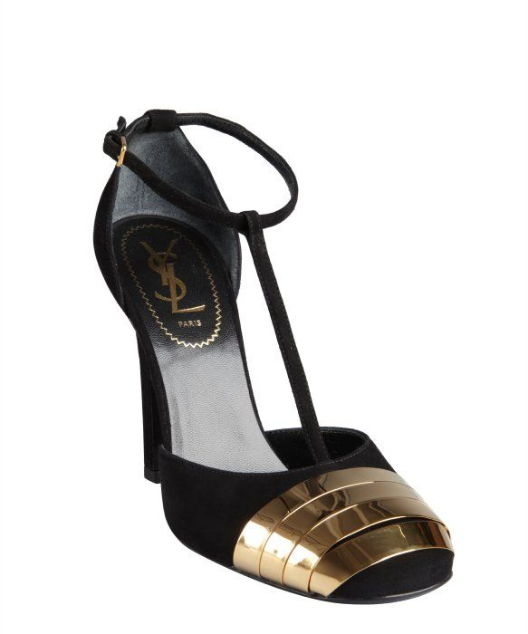 Yves Saint Laurent black suede and gold banded toe t-straps