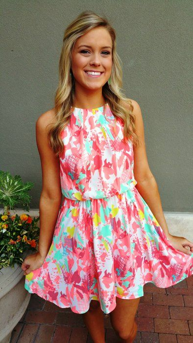 Bright Peaches Dress | Ella Bleu