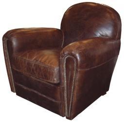 Leather club armchair fake vintage