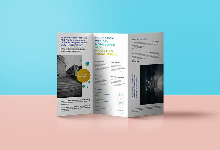 Standing trifold Brochure Mockup