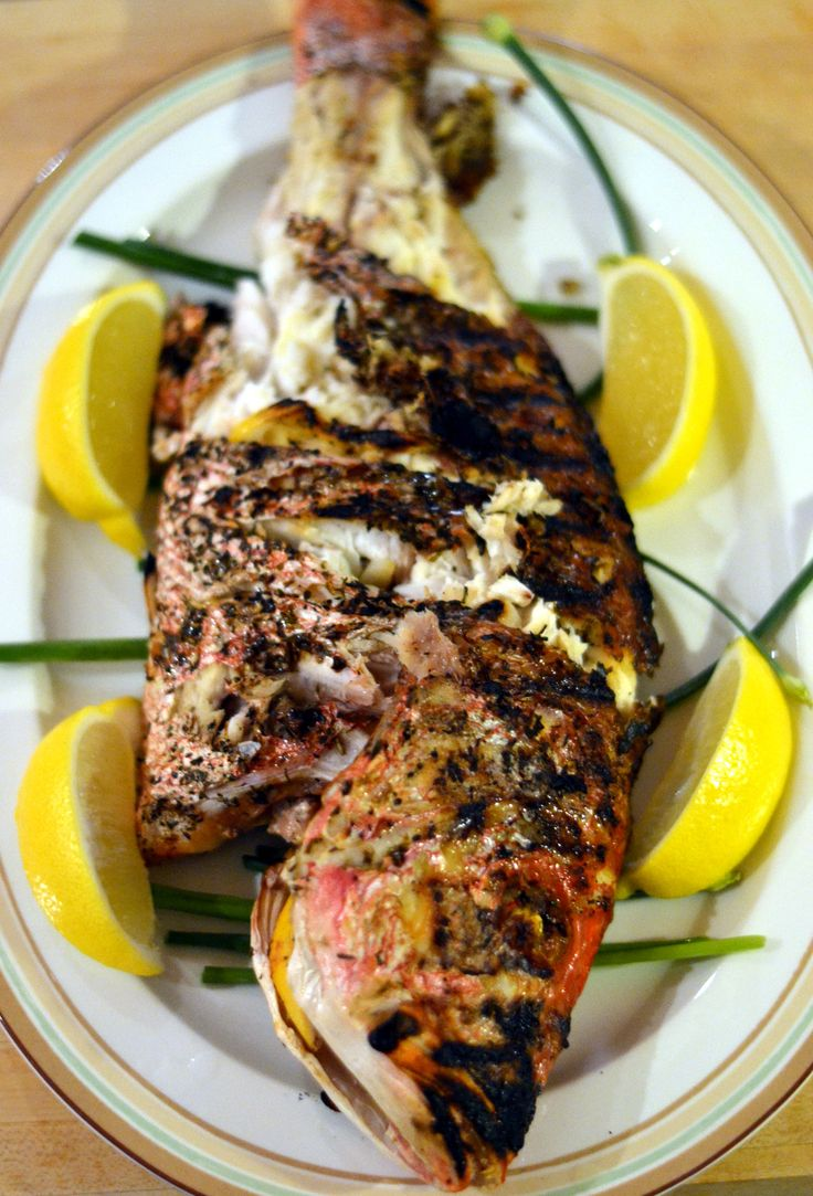 Grilled Whole Red Snapper with Lemon, Garlic and Herbs                                                                                                                                                     More