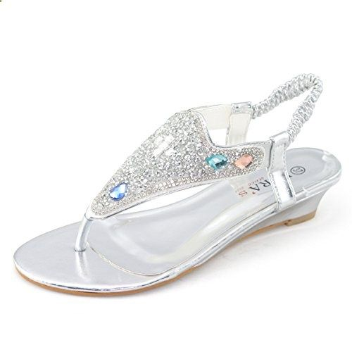 SHOEZY Women's Wedding Wedge Sandals Thong Slingback Jewels Embellished Overlay Silver US 8. Check website for more description.