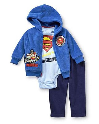You know your kid's a superhero, and the rest of the world will, too, when you dress him in this 3-piece Superman outfit! Snaps allow for quick (diaper) changes. Click above to buy!