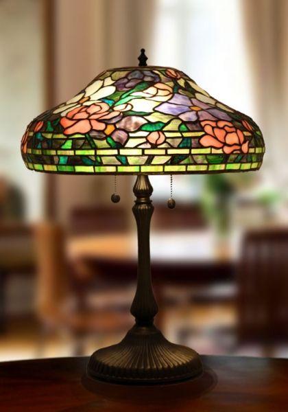 Vitrážová stolní lampa LBL555 Peony (Polarfox) - Lustry a lampy