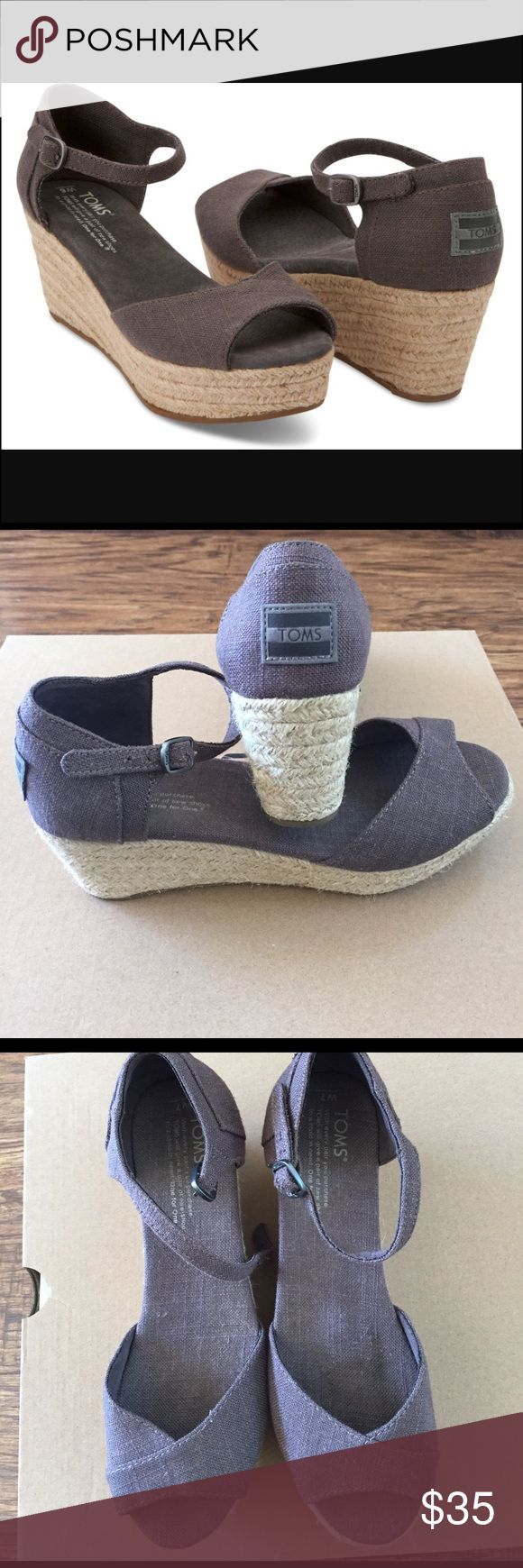 """Tom's Canvas platform wedge sandals 7M NWOT Tom's wedge ankle-strap sandals. Color is ash linen. Jute wrapped 2.5"""" wedge heel with 1.25"""" platform. Runs true to size. Perfect condition. Never worn, except in house trying them on. Tom's Shoes Sandals"""