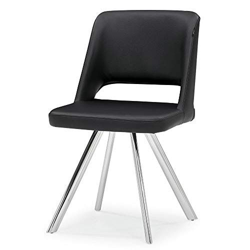 Zuri Furniture Juneau Black Leatherette Dining Chair With Polished