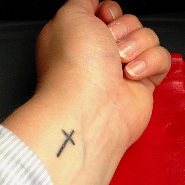 Cross Side Wrist Tattoo