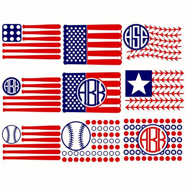 Baseball Flags USA Svg Cuttable Designs