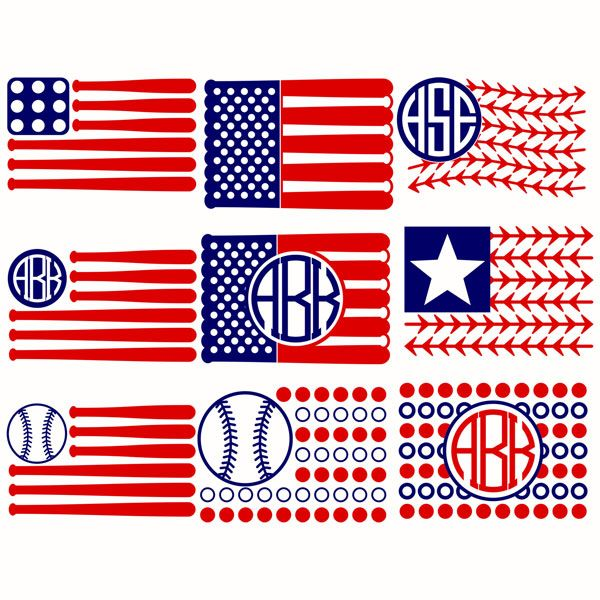 Baseball Flags USA Svg Cuttable Designs
