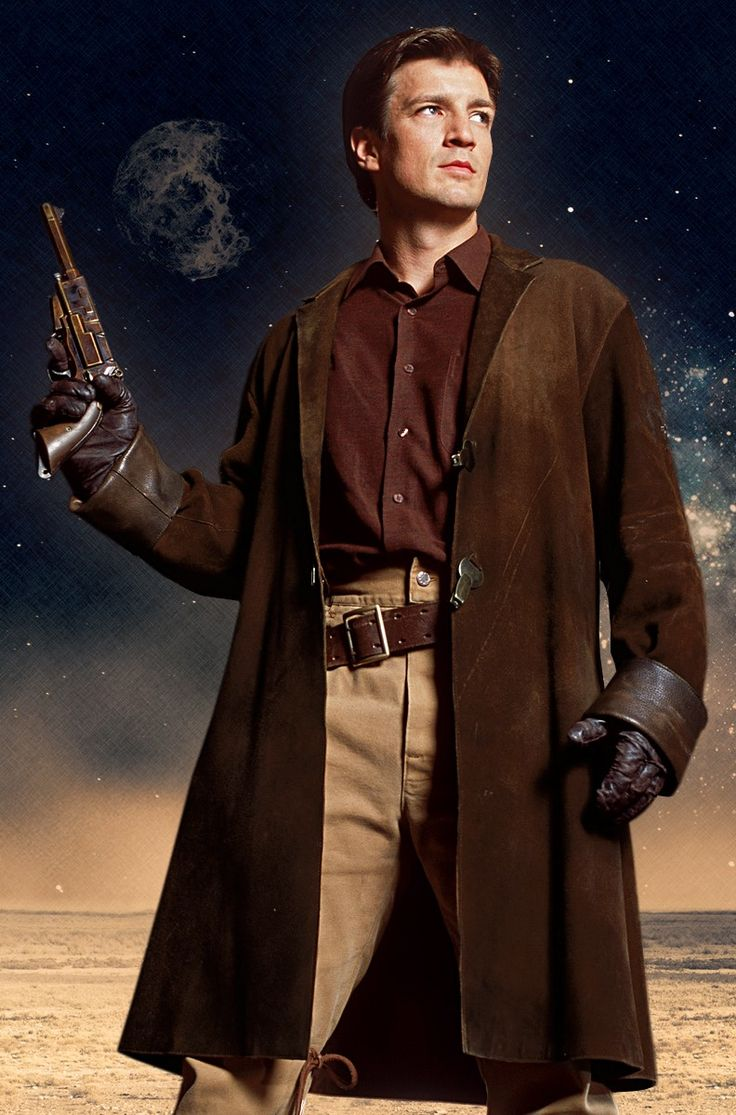 The Firefly Malcolm Reynolds' Browncoat is a replica of the infamous brown coat worn by old Captain Tightpants himself.  Played by Nathan Fillion, this coat isn't just a coat; it's a symbol of the Resistance and those who lost still wear these coats with pride.  You'd have to pry this coat out of the Captain's cold dead hands and most likely yours once you buy it.  The coat is lined with leather on the inside and a suede brown leather finish on the outside.