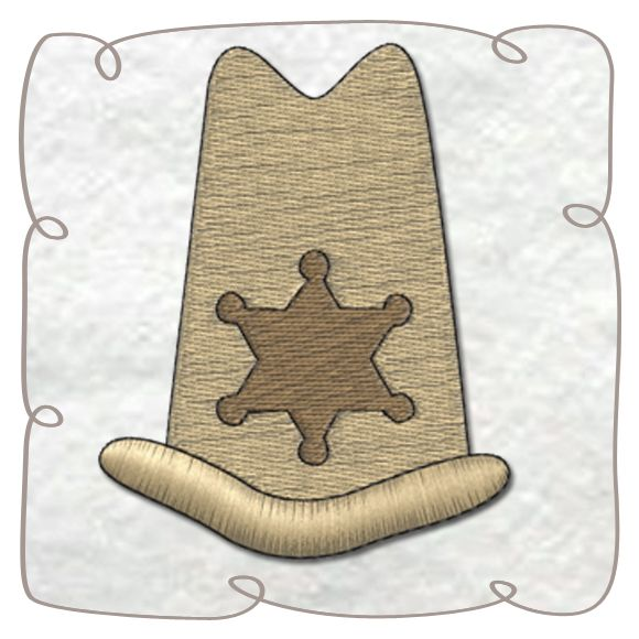 Sheriff Hat Machine Embroidery Design pattern-INSTANT DOWNLOAD