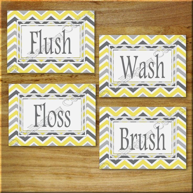Wall Art Designs ... Original Designs by Jo Collins Yellow and Gray Chevron Zigzag Print Wall Art Bathroom Bath Decor Floss Flush #101