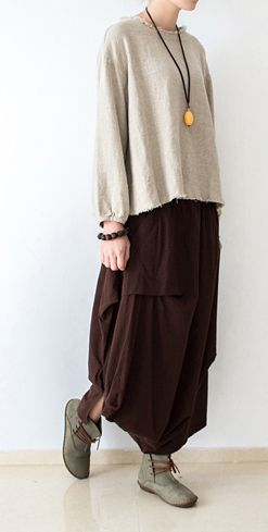 Brown asymmetrical linen skirts oversized maxi skirts pants