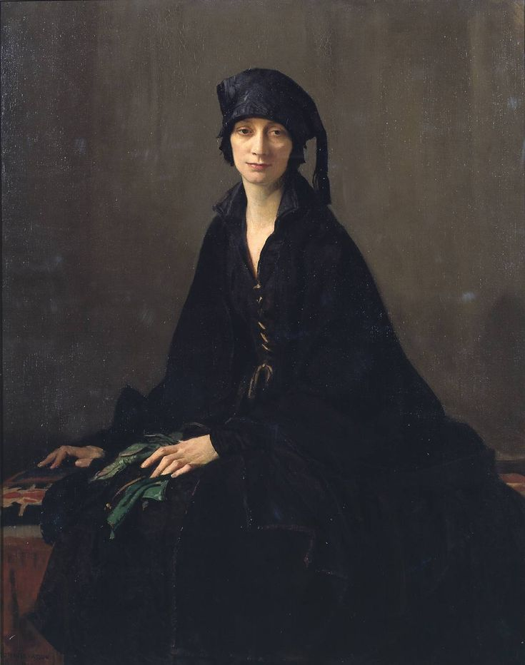 A Lady in Black (1922). George Spencer Watson (English, 1869-1934). Oil paint on canvas. Tate.First exhibited at the Royal Academy in 1923 as 'Miss Mullock', but reproduced in the same year's Royal Academy Illustrated as 'A Lady in Black', the name by which it has since been known. Watson studied at the Royal Academy Schools from 1889, and exhibited at the Royal Academy from 1891.