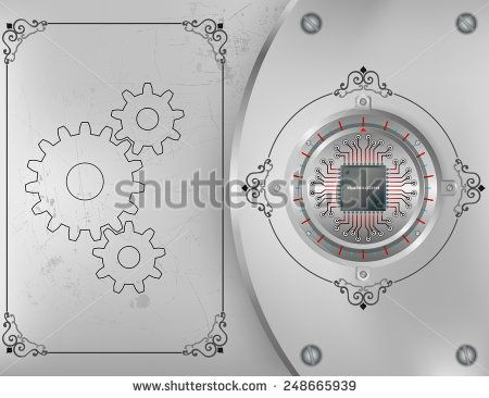 Abstract technology background; Processor Chip on circular metallic inlaid gradations device nailed on steel board with screws; ornamental arabesques frames and scratched metallic background.