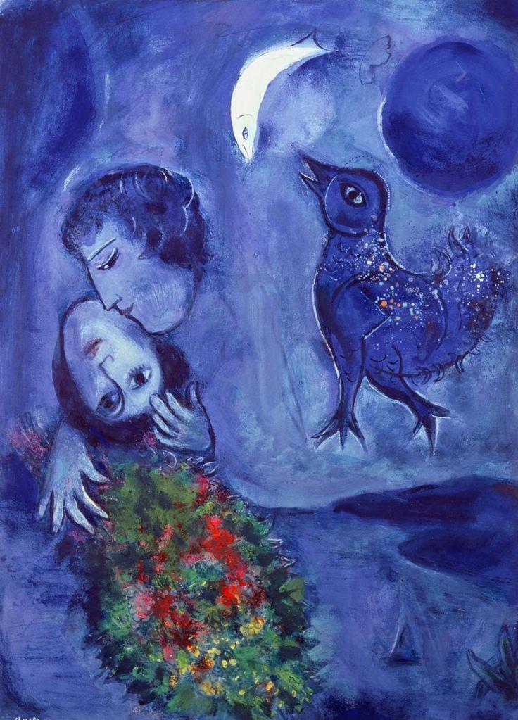 surprendlejour:  Marc Chagall, Le Paysage bleu, 1949, Gouache sur papier, 77 x 56cm, Wuppertal, Von der Heydt Museum.